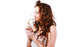 Beautiful  alluring young girl in white Royalty Free Stock Image
