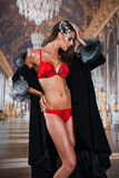 Beautiful alluring young woman in sexy red lingerie and luxury fur coat Royalty Free Stock Photography