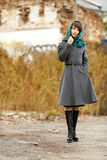 Beautiful alone woman  in grey coat outdoors Royalty Free Stock Image