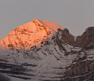 Beautiful alpenglow in the Canadian Rockies. Banff National Park, Alberta, Canada Royalty Free Stock Image