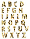 Beautiful alphabet with golden leaves, flowers and branches isolated royalty free illustration