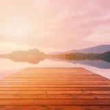 Beautiful alpine lake in sunlight Royalty Free Stock Image