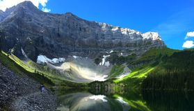 Scenic Rawson Lake snowshoe near Canmore, Alberta, Canada royalty free stock images