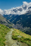 Beautiful alpine landscape with a mountain path, Swiss Alps, Europe Stock Photos