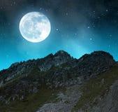 Beautiful alpine landscape near Davos in night. Stock Photo
