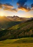 Beautiful alpine landscape at sunrise Stock Photos