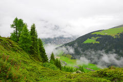 Beautiful alpine landscape with views of the Davos. Royalty Free Stock Photography