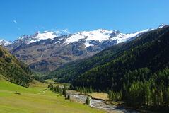 Beautiful alpine valley with high Weisskugel near. Melag, Italy, Europe Royalty Free Stock Image