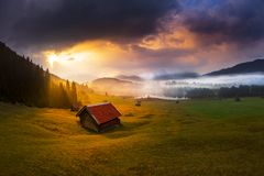 Free Beautiful Alpine View With An Agricultural Hut Near The Geroldsee And The Famous Karwendel Summit Mittenwald, Bavaria, Germany Stock Image - 159442941