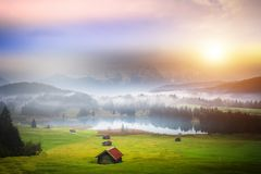 Free Beautiful Alpine View With An Agricultural Hut Near The Geroldsee And The Famous Karwendel Summit Mittenwald, Bavaria, Germany Stock Images - 159443034