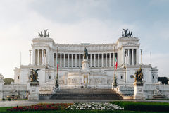 Beautiful Altar Of The Fatherland (Altare della Patria, known as. The national Monument to Victor Emmanuel II or II Vittoriano ) at sunset.Famous landmark stock photography