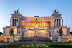 Beautiful Altar Of The Fatherland (Altare della Patria, known as. The national Monument to Victor Emmanuel II or II Vittoriano ) at sunset. Famous Roman royalty free stock photo