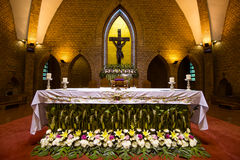 Beautiful altars of Catholic church in Thailand. Beautiful altars of Catholic church with flowers in Thailand Stock Image