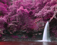 Beautiful alternate colored surreal waterfall landscape Royalty Free Stock Photos