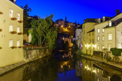 Beautiful Alzette river side scene on road Rue Munster. Of Luxembourg at night Royalty Free Stock Photography