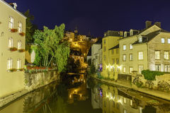 Beautiful Alzette river side scene on road Rue Munster Royalty Free Stock Photos