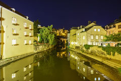 Beautiful Alzette river side scene on road Rue Munster Stock Image