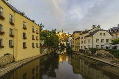 Beautiful Alzette river side scene on road Rue Munster Royalty Free Stock Photo