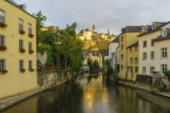 Beautiful Alzette river side scene on road Rue Munster Stock Photography