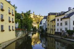 Beautiful Alzette river side scene on road Rue Munster. Of Luxembourg at sun rise Stock Photo