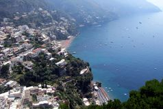 The beautiful Amalfi Coastline in Italy shimmers in the sun. The Amalfi coast in Italy has gorgeous seashores, colorful villages, majestic mountains and cliffs stock photography