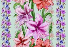 Beautiful amaryllis flowers with leaves in straight lines on green background. Seamless floral pattern. Watercolor painting. Hand drawn and painted Stock Image