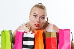 Beautiful amazed blonde woman Royalty Free Stock Images