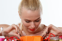 Beautiful amazed blonde woman Royalty Free Stock Photography