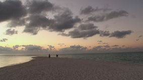 Beautiful amazing golden sunset at tropical beach. Beautiful golden sunset at tropical beach, amazing colors, light beam shining through the cloudscape over stock video footage