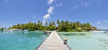 Beautiful amazing tropical island beach panoramic landscape view. In Maldives stock photos