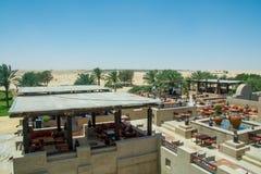 Beautiful amazing view of outdoors restaurant lounge at luxury arabic desert resort Royalty Free Stock Photos