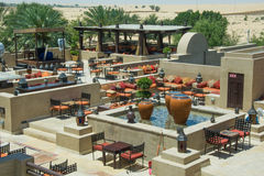 Beautiful amazing view of outdoors restaurant at luxury arabic desert resort Royalty Free Stock Image