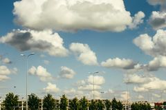Beautiful amazing view of sky and clouds on highway road near ai Royalty Free Stock Photos