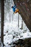 Beautiful amazing winter mountains. A man goes a sport climbing in snow holidays. Christmas background. Unique landscape. Northern Royalty Free Stock Photo