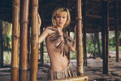 Free Beautiful Amazon Woman Posing In The Jungle Royalty Free Stock Image - 186919626