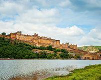 Beautiful Amber Fort and the lake, Jaipur, Rajasthan, India. Stock Photo