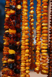 Beautiful amber necklaces Stock Photo