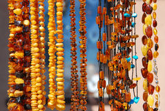Beautiful amber necklaces Stock Image