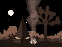 Beautiful amd mystic illustration with indian tepee, fire, and joshua tree silhouette Stock Photos