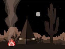 Beautiful amd mystic illustration with indian tepee, fire, and joshua tree silhouette royalty free stock photo