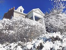 American apartment house exterior. A beautiful american apartments house after snow in new england connecticut united states Stock Photography