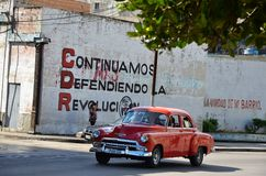 Beautiful American car in Havana, Cuba Royalty Free Stock Images