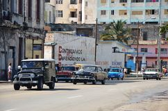 Beautiful American cars in Havana, Cuba Stock Photography