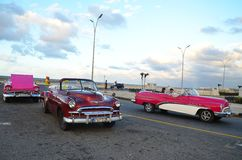 Beautiful American cars at Malecon in Havana, Cuba Royalty Free Stock Image