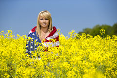 A beautiful with american flag in yellow field Stock Photography