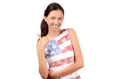 Beautiful American girl signing thumbs up. Royalty Free Stock Photography