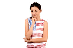 Beautiful American girl smiling and thinking. Stock Images