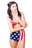 Beautiful american military pin up girl Stock Photo