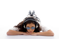 Beautiful american woman with headphone Royalty Free Stock Image