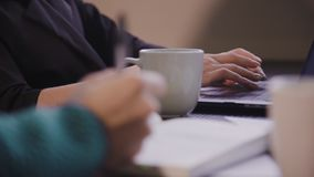 Beautiful american young woman work on laptop on her workplace. stock video footage